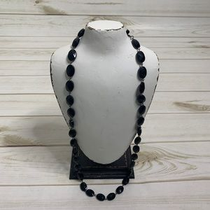 Black statement necklace long beads